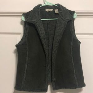 Olive green suede and lined vest